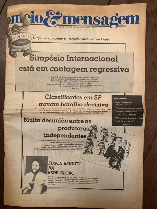 1985-28-10 Capa Jornal Meio e Mensagem
